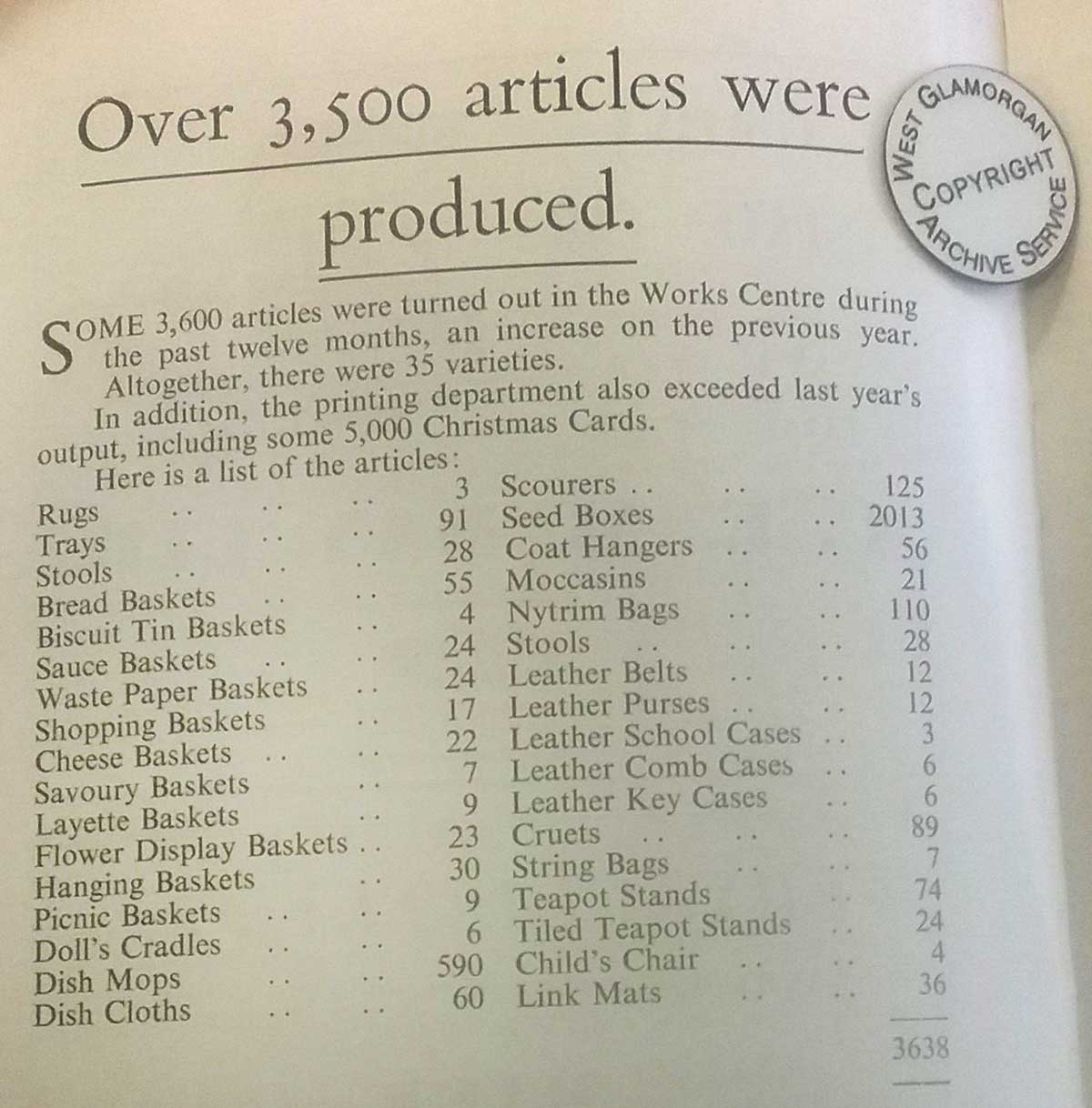 Association Year Book 1962 lists the selection of articles made in the Work Centre