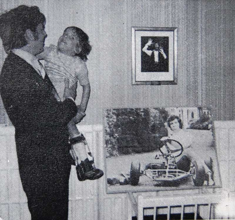 Mr. Derek Miller, Hon. Secretary, shows his daughter Sara the 'Tom Jones' room at Longfields.